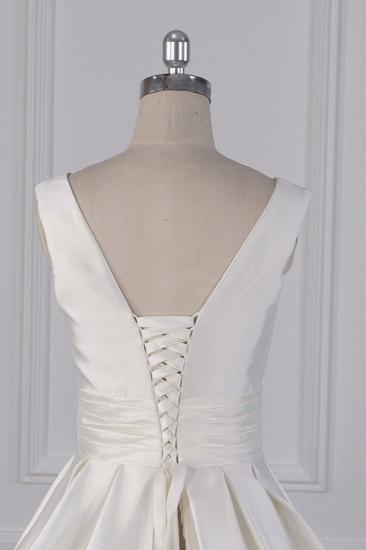 BMbridal Simple Jewel White Satin Wedding Dress Sleeveless Ruffles Bridal Gowns On Sale_7