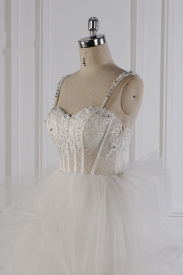Elegant Straps Tulle Lace Wedding Dress Sweetheart Appliques Beadings Bridal Gowns with Ruffles On Sale_6
