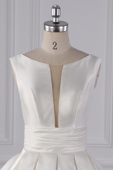 BMbridal Simple Jewel White Satin Wedding Dress Sleeveless Ruffles Bridal Gowns On Sale_5