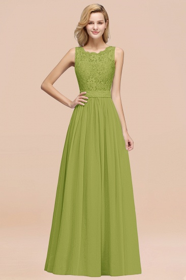 Elegant Chiffon Lace Scalloped Sleeveless Ruffle Bridesmaid Dresses_34