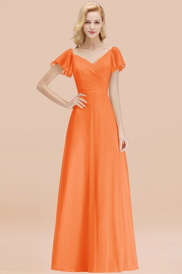 Elegent Short-Sleeve Long Bridesmaid Dress Online Yellow Chiffon Wedding Party Dress_15