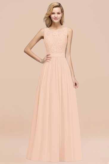 Elegant Chiffon Lace Scalloped Sleeveless Ruffle Bridesmaid Dresses_5