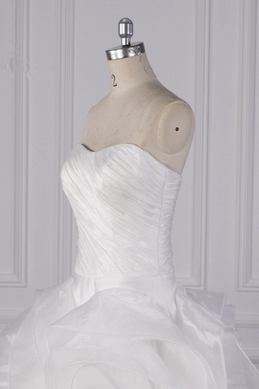 Stylish Organza Strapless White Wedding Dress Ruffles Sleeveless Bridal Gowns On Sale_6