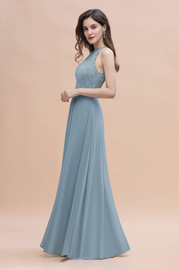 BMbridal Elegant Jewel Lace Appliques Dusty Blue Chiffon Bridesmaid Dress On Sale_8