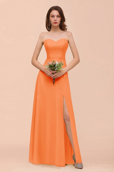 BMbridal Affordable Strapless Front Slit Long Dusty Sage Bridesmaid Dress_15