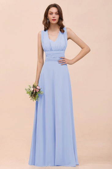 New Arrival Dusty Blue Ruched Long Convertible Bridesmaid Dresses_22