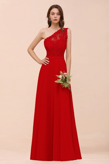 New Arrival Dusty Rose One Shoulder Lace Long Bridesmaid Dress_8