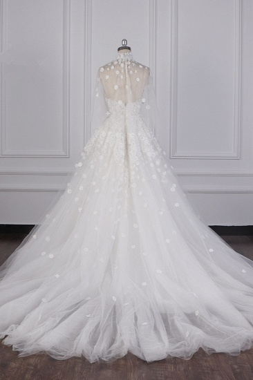 BMbridal Chic High-Neck Tulle Lace Wedding Dress Appliques Beadings Long Sleeves Bridal Gowns On Sale_3