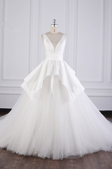 BMbridal Chic Ball Gown Jewel Layers Tulle Wedding Dress White Sleeveless Ruffles Bridal Gowns Online_1