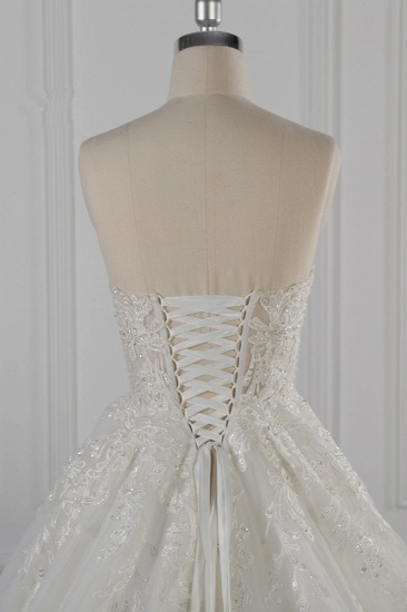 Elegant Strapless White Lace Wedding Dress Sleeveless Appliques Ruffle Bridal Gowns Online_7