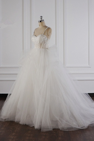 Elegant Straps Tulle Lace Wedding Dress Sweetheart Appliques Beadings Bridal Gowns with Ruffles On Sale_4