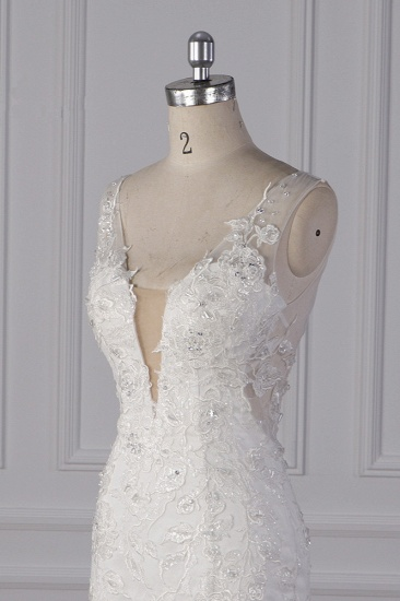 Gorgeous V-Neck Mermaid Lace Appliques Wedding Dress Sequined Sleeveless Bridal Gowns Online_6
