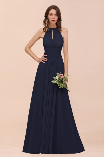 Elegant Chiffon Jewel Ruffle Champagne Affordable Bridesmaid Dress Online_28