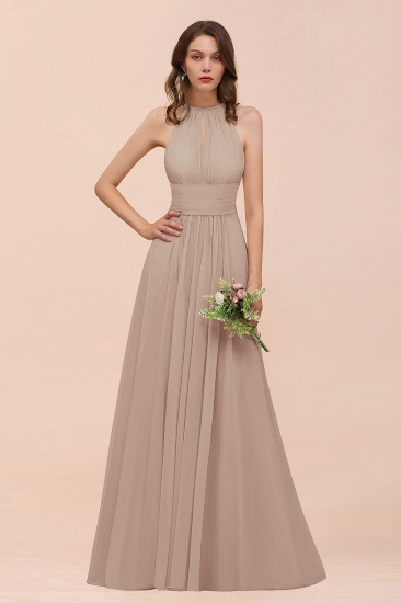Elegant Chiffon Jewel Ruffle Champagne Affordable Bridesmaid Dress Online_16