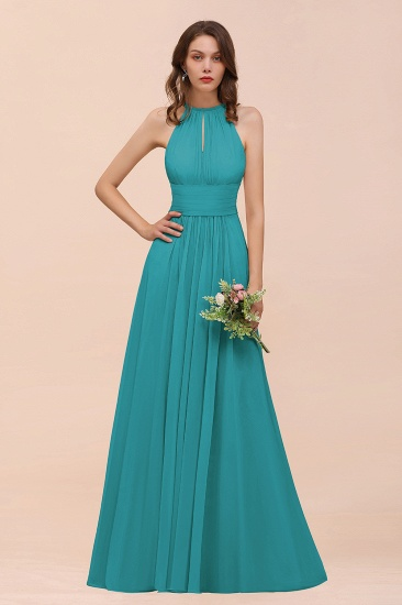 Elegant Chiffon Jewel Ruffle Champagne Affordable Bridesmaid Dress Online_32