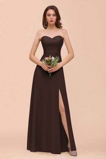 BMbridal Affordable Strapless Front Slit Long Dusty Sage Bridesmaid Dress_11