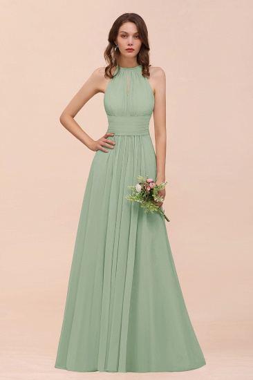 Elegant Chiffon Jewel Ruffle Champagne Affordable Bridesmaid Dress Online_41