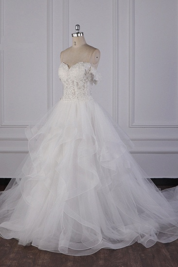 BMbridal Stylish Off-the-Shoulder Tulle Lace Wedding Dress Strapless Appliques Ruffles Beading Bridal Gowns On Sale_4