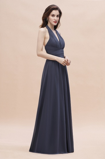 Gorgeous Halter Chiffon Ruffles Bridesmaid Dress with Front Slit Online_6