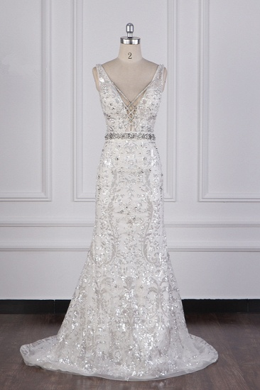 BMbridal Sparkly Sequins Straps V-Neck Wedding Dress Beadings Sleeveless Bridal Gowns with Sash On Sale_1