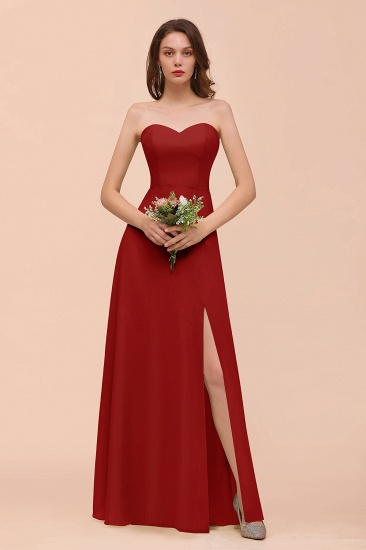 BMbridal Affordable Strapless Front Slit Long Dusty Sage Bridesmaid Dress_48