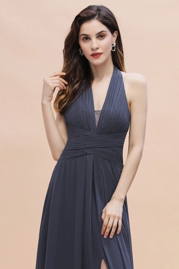 BMbridal Gorgeous Halter Chiffon Ruffles Bridesmaid Dress with Front Slit Online_9