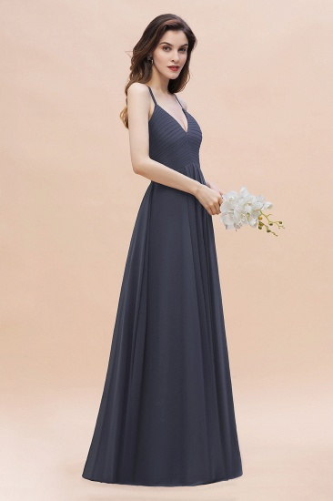BMbridal Simple Spaghetti Straps Stormy Chiffon Bridesmaid Dress with Ruffles On Sale_5