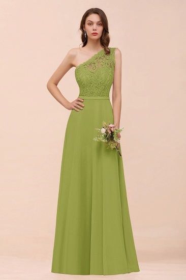 New Arrival Dusty Rose One Shoulder Lace Long Bridesmaid Dress_34