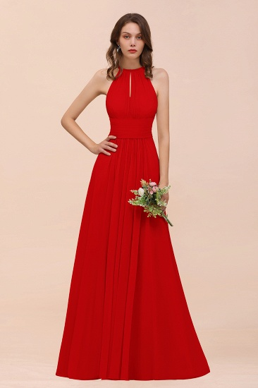 Elegant Chiffon Jewel Ruffle Champagne Affordable Bridesmaid Dress Online_8