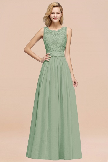 Elegant Chiffon Lace Scalloped Sleeveless Ruffle Bridesmaid Dresses_41