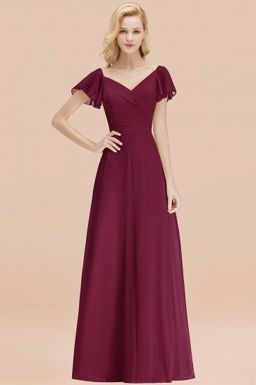 Elegent Short-Sleeve Long Bridesmaid Dress Online Yellow Chiffon Wedding Party Dress_44