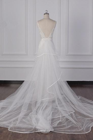 BMbridal Glamorous Jewel Beadings Sheath Wedding Dress Tulle Beadings Appliques Bridal Gowns On Sale_3