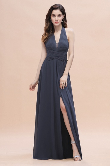 Gorgeous Halter Chiffon Ruffles Bridesmaid Dress with Front Slit Online_4