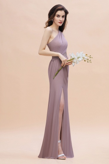 BMbridal Chic One-Shoulder Dusk Chiffon Lace Ruffle Bridesmaid Dress with Front Slit On Sale_8