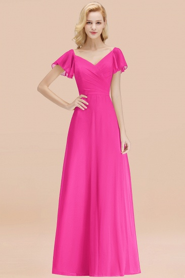 Elegent Short-Sleeve Long Bridesmaid Dress Online Yellow Chiffon Wedding Party Dress_9