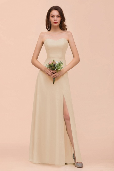 BMbridal Affordable Strapless Front Slit Long Dusty Sage Bridesmaid Dress_14