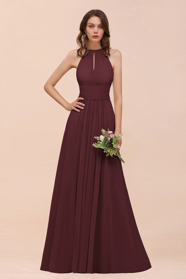 Elegant Chiffon Jewel Ruffle Champagne Affordable Bridesmaid Dress Online_47