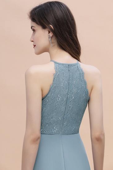 BMbridal Elegant Jewel Lace Appliques Dusty Blue Chiffon Bridesmaid Dress On Sale_9