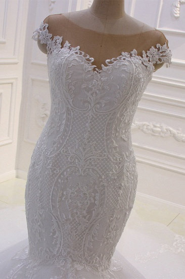 BMbridal Elegant Jewel Tulle Lace Sequined Wedding Dress Mermaid Appliques Sleeveless Bridal Gowns On Sale_4