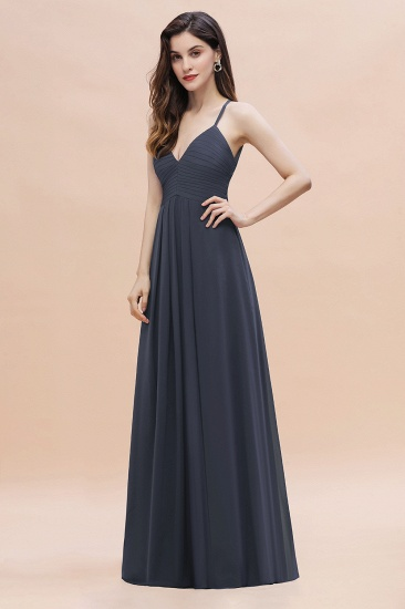 BMbridal Simple Spaghetti Straps Stormy Chiffon Bridesmaid Dress with Ruffles On Sale_7