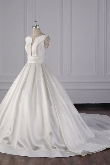 BMbridal Simple Jewel White Satin Wedding Dress Sleeveless Ruffles Bridal Gowns On Sale_4