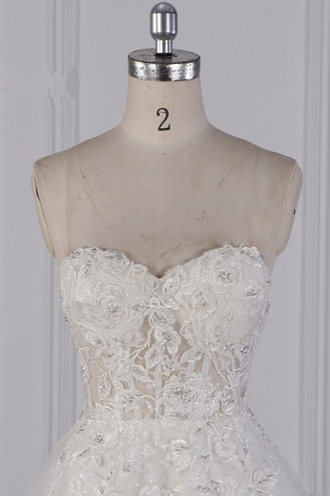 BMbridal Elegant Strapless Tulle Lace Wedding Dress Sweetheart Appliques Sequined Bridal Gowns On Sale_5
