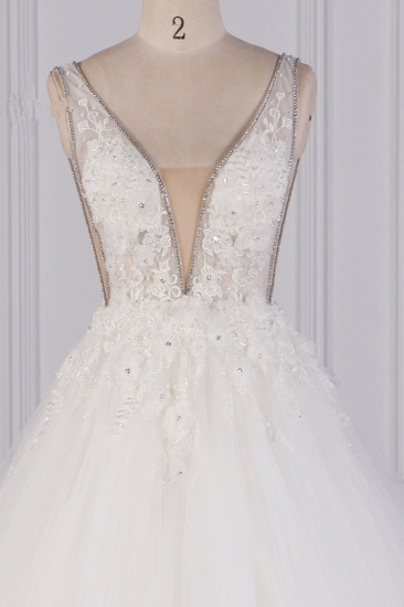 BMbridal Sexy Deep-V-Neck Ball Gown Wedding Dress Sleeveless Appliques Beadings Bridal Gowns On Sale_5