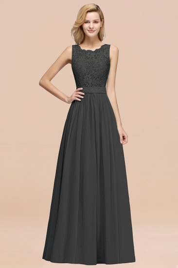 Elegant Chiffon Lace Scalloped Sleeveless Ruffle Bridesmaid Dresses_46