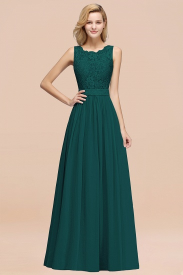 Elegant Chiffon Lace Scalloped Sleeveless Ruffle Bridesmaid Dresses_33