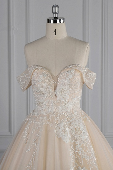 BMbridal Gorgeous Ball Gown Tulle Lace Wedding Dress Champagne Appliques Off-the-Shoulder Bridal Gowns with Beadings On Sale_5