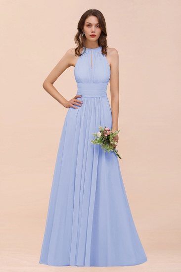Elegant Chiffon Jewel Ruffle Champagne Affordable Bridesmaid Dress Online_22