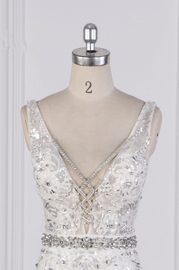 BMbridal Sparkly Sequins Straps V-Neck Wedding Dress Beadings Sleeveless Bridal Gowns with Sash On Sale_5