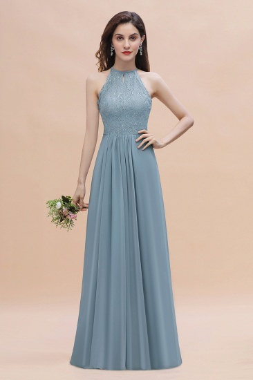 Elegant Jewel Lace Appliques Dusty Blue Chiffon Bridesmaid Dress On Sale
