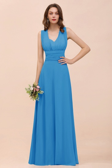 New Arrival Dusty Blue Ruched Long Convertible Bridesmaid Dresses_25